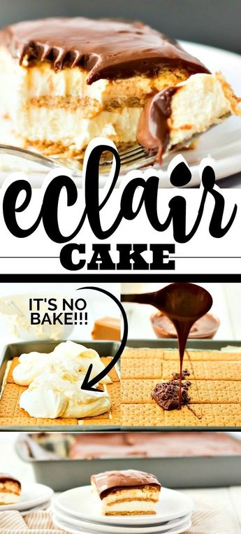 This easy eclair cake recipe tastes just like an éclair, only it's much easier to make. My favorite part is you don't even have to use the oven. It's a no bake eclair cake, so I just make the cake the day before, pull it out of the fridge, and it's ready to serve.