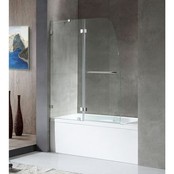 ANZZI HERALD Series 48 in. x 58 in. Frameless Hinged Tub Door in Brushed Nickel with Towel Bar with Handle
