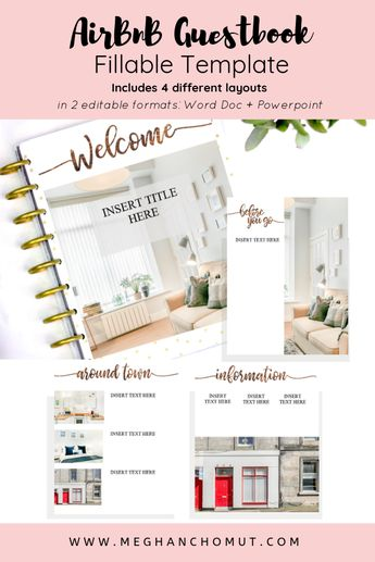 AirBnB Guestbook Fillable Template - 4 layouts pages - Word Document + PowerPoint Template - layout is READY for your content and pictures