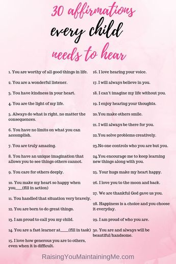 30 Affirmations Every Child Needs to Hear