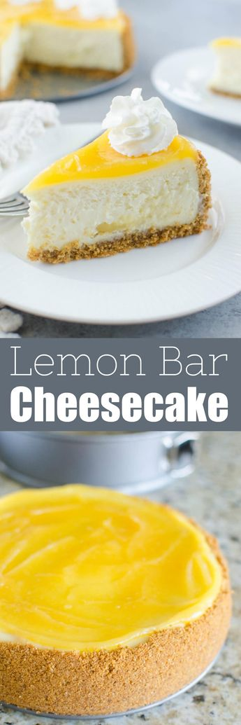 Lemon Bar Cheesecake - two of the best desserts in one! Creamy cheesecake with lemon curd swirls inside and topped with more lemon curd and whipped cream.