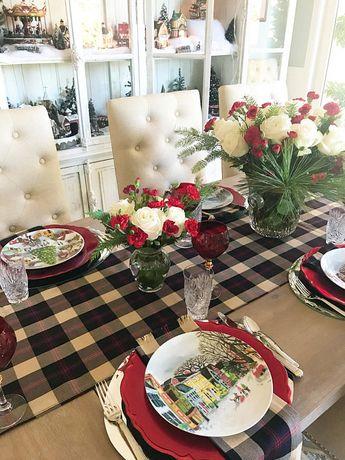 Christmas plaid table runner, English tablecloth, placemats or napkins. British table decor, Formal Holiday, Traditional tartan fabric
