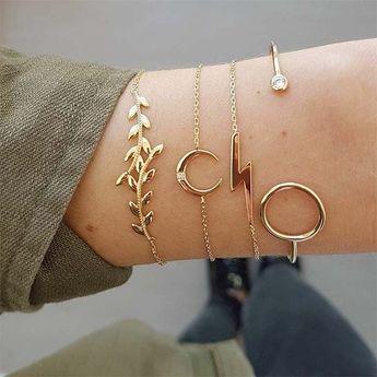 Fashion Gold-tone Tree Branch Bracelet Set 4 pcs/Set