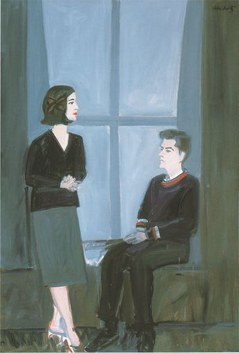 Alex Katz, Don and Marisol 1, oil on linen, 71x49 in, 1960