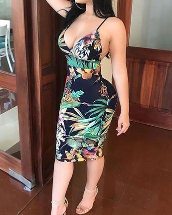 Tropical Print Backless Bodycon Slip Dress