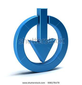 3D Download Symbol. Three Dimensional Rendering