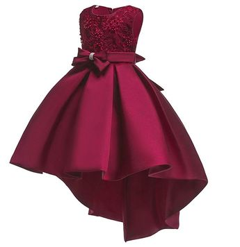Little/Big Girls Pleated Beaded High-Low Applique Embroidered Flower Girl Pageant Dance Party Dress - Burgundy - CI18LUXM0AY