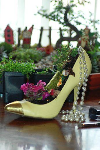yellow pumps, miniature gardens, fairy gardens, flowers