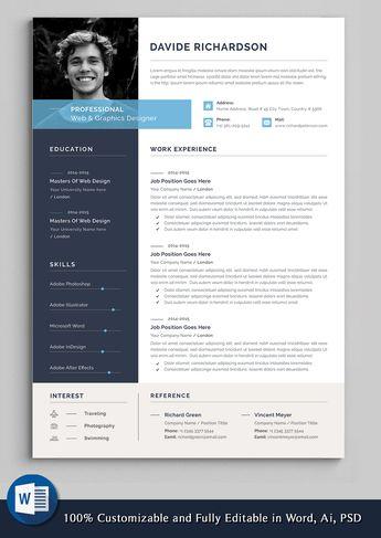 Professional Resume Template | Word Resume | CV Template | Modern Resume | Resume Design