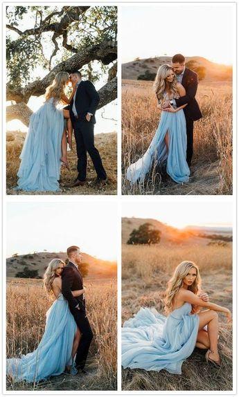 A-line V-Neck Court Train Sky Blue Rustic Wedding Dress with Split C503 sold by cutedressy on Storenvy