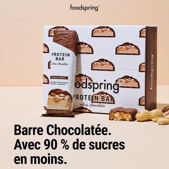 Nos barres chocolatées sont là !  ✓ 90% moins de sucre  ✓ Jusqu'à 8x plus de protéines  ✓ 50% moins de glucides