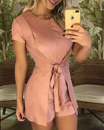 Shop Fashion Solid Tie Waist Casual Romper  right now, get great deals at joyshoetique.