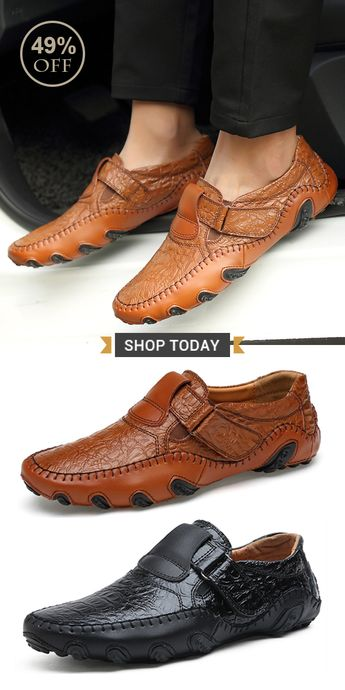 【49%OFF】Mens Large Size Hand Stitching Soft Sole Casual Driving Shoes#casual #style #shoes