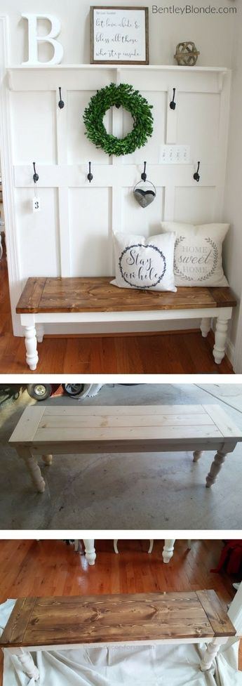 Check out the tutorial on how to make a DIY farmhouse bench Industry Standard De