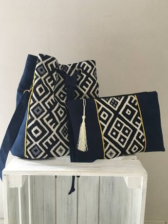 Pocket, midnight blue suede makeup kit and Chic Ethnic Jacquard fabric / Tribal Motifs