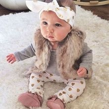 Infant girl clothes Long sleeve gray red heart Tops Goldden Love Pants Headband 3Pcs Baby Girls Clothing Sets