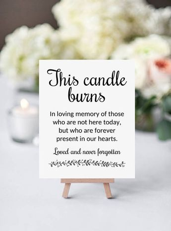 Memory Candle Sign, This Candle Burns, Printable Wedding Memorial Signage, Rochester