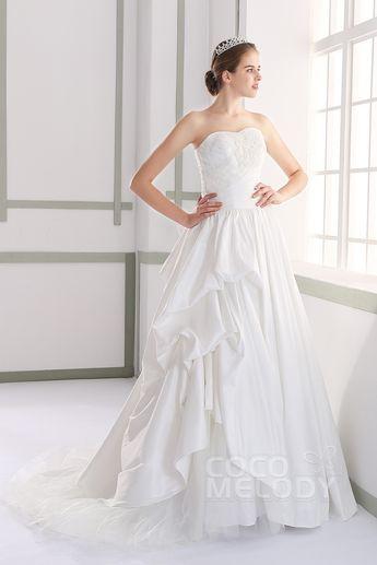 Luxurious A-Line Sweetheart Natural Court Train Taffeta Ivory Sleeveless  Lace Up-Corset Wedding f1fad671722