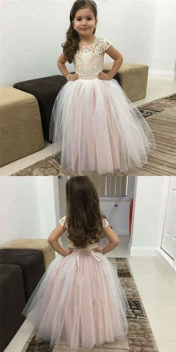 Simple Prom Dress, Ball Gown Round Neck Pink Tulle Flower Girl Dresses with Lace&Bow Knot Saloni Dresses