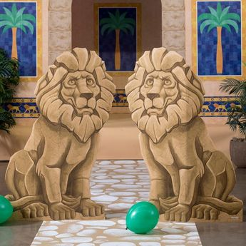 Our Babylonian Bazaar Lion Standee Set is a great addition to your VBS decor. This set of two, freestanding cardboard props each feature an image of lion statue printed on one side.