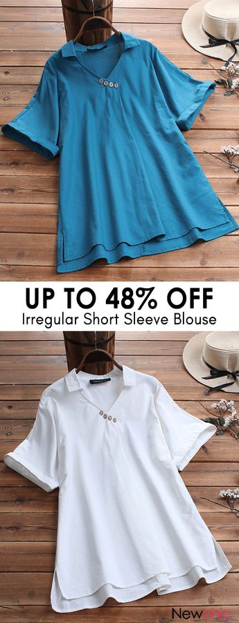 Irregular Button Solid Color Short Sleeve Blouse. #summerfashion #womenshirts #casualoutfits.