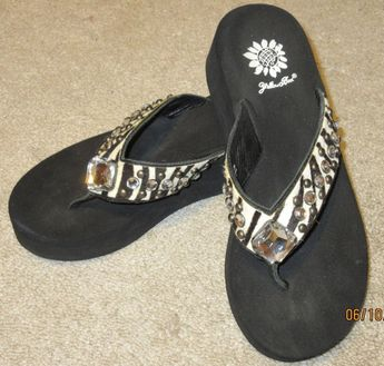 76e1f23a3 Yellow Box 7 black white zebra leather rhinestone flip flops VG studs   fashion  clothing