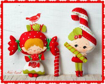 PDF. Candy and candy cane elves. Plush Doll Pattern, Softie Pattern, Soft felt Toy Pattern