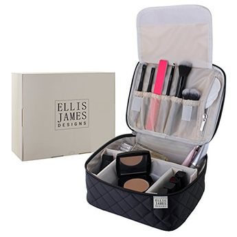 Ellis James Designs Travel Makeup Bag Train Case Organizer - Black - 2-in-1 Cosmetic Bags for Make Up and Nail Polish Cases - Large Cosmetics Bag for Women with Compartments, Handle and Brush Pockets