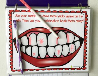 Printed and laminated for you! Even comes with a toothbrush! Brush my teeth laminated mat, dental health, hygiene, fine motor toy, dry erase, diy busy book, quiet book, toothbrush, travel activity