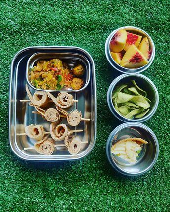 Kshetrajna's school tiffin is packed today with baingan bharta and lisode ka Achar with paratha bites peaches mint soy chips and mini ghevar wedge.  #angelsandachef #Foodiebabykshetrajna #kshetrajna #freshfood #funtimes #funfood #food #tiffin #tastyfood #schooldays #seasonalfood #mykidstiffin #maketastybreakfast #helpyourwifeout #healthyfood #homemadefood #jaipurfood #jaipurlove #jaipurfoodies #indiainternationalschool #healthyfood #foodie #healthy #food #foodporn #healthyeating #instafood #fitn