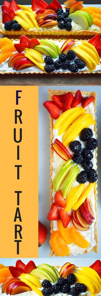 Fresh Fruit Tart with Vanilla Bean Custard. Buttery, flaky pie crust baked to perfection in tart pan and filled with handmade vanilla pastry cream and topped with sliced fruit. One of the most popular desserts for a reason! www.modernhoney.com