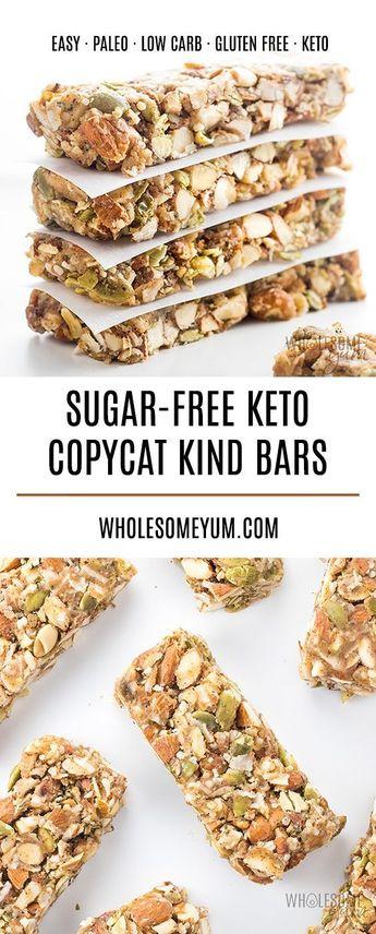 BEST Sugar-free Keto Low Carb Granola Bars Recipe | Wholesome Yum