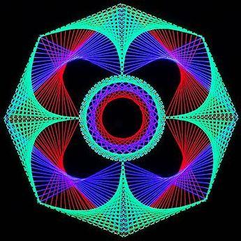 Spirograph String Art | Stringart UV Deko   Goa Psy Trance Party    Schwarzlicht Fadenkunst .