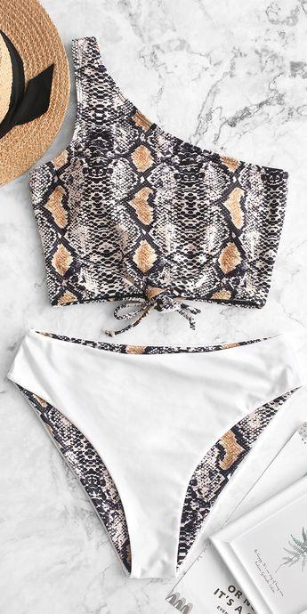 Reversible Snakeskin Lace Up One Shoulder Tankini Swimsuit