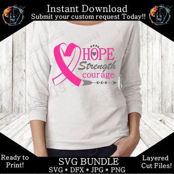 Hope Strength Courage Breast cancer svg bundle, awareness svg, Ribbon svg, Wear pink svg, Hope svg, Cure svg, Faith svg, Believe svg