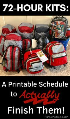 A Printable Schedule to Actually Finish Your Family's 72-Hour Kits