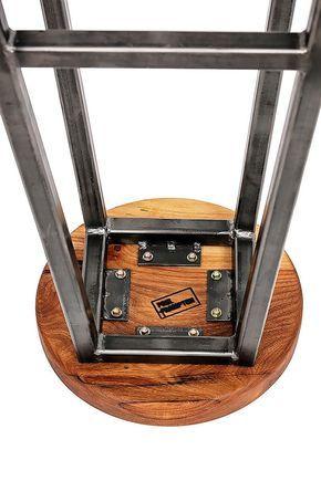 Chunky carré en acier cadre tabouret avec assise épaisse