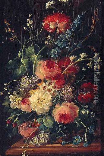 Roses, Delphiniums, Primulas And Narcissus In A Vase On A Ledge Oil Painting, Dutch School Oil Paintings - NiceArtGallery.com