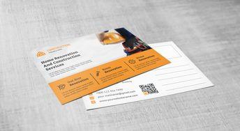 Renovation Construction Postcard Design Template - Graphic Templates
