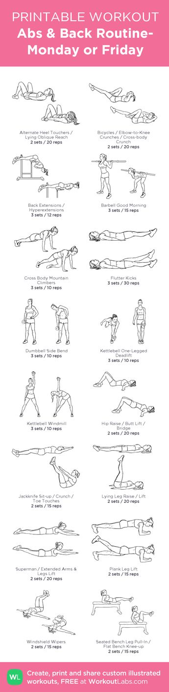 Abs & Back Routine- Monday or Friday   my visual workout created at WorkoutLabs.com • Click through to customize and download as a FREE PDF! #customworkout