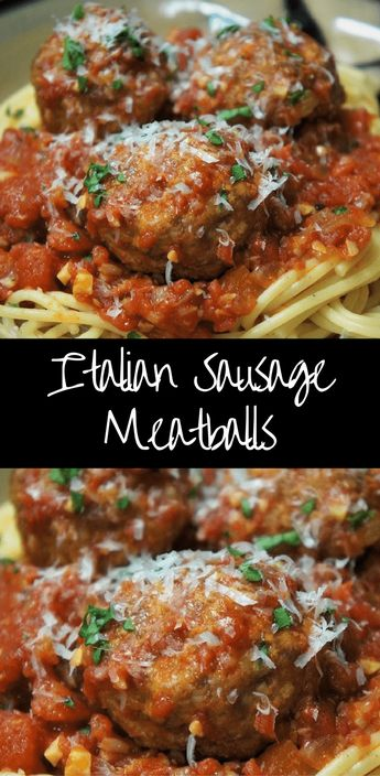 In this recipe, the Italian sausage adds a ton of flavor to the meatballs already, so you only need a few ingredients to put them together. The Italian sausage meatballs are cooked in a light tomato sauce, made with chopped tomatoes, garlic, onions and olive oil, really simple. #Italiansausagemeatballs #meatballs #pasta #dinner #Italiansausage