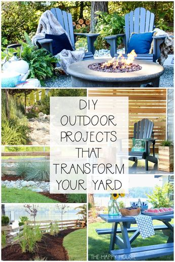 DIY Outdoor Projects to Transform Your Yard | The Happy Housie | On the blog, I'm sharing a collection of the various DIY projects that we tackled in our last house that completely transformed our yard and landscaping. #patio #outdoorliving #gardening