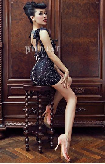 Black polka dots cut-out back dress lp