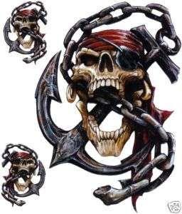 Aufkleber Set Pirat Totenkopf Anker Kette Airbrush Decal Pirate Skull