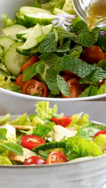 Fattoush is a healthy and authentic Middle Eastern salad of Lebanese origin - crisp lettuce, crunchy vegetables, toasted bites of pita bread and a tangy sumac dressing!  A perfect way to use leftover pita bread, this Fattoush salad recipe is easy to make and hearty enough to be a meal on its own. #fattoushsalad #lebanesefood #middleeasternfood