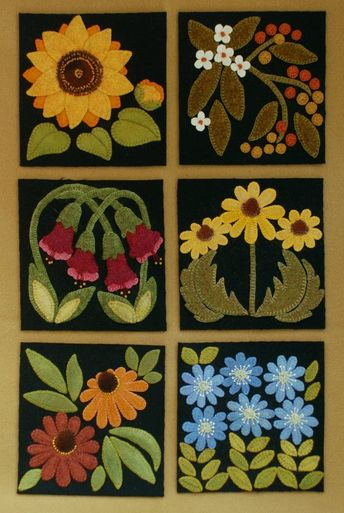 Wool applique PDF e-PATTERN Wild Geraniums one