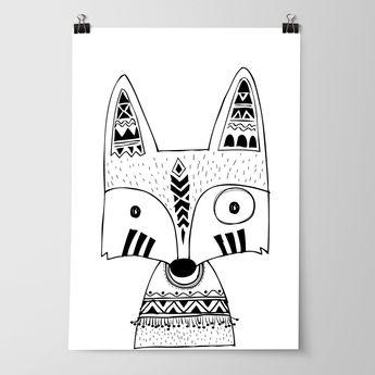 Tribal Fox Nursery Bedroom Wall Art Prints Woodland Free Shipping Australia Wide