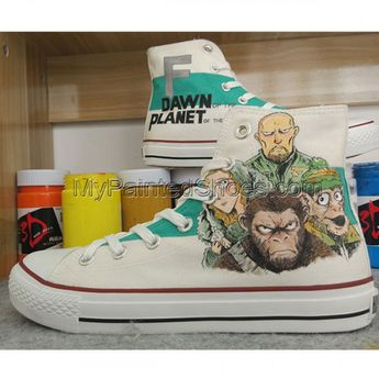 b3978609a1 Unisex Converse All Star Hand Painted Shoes Planet of the Apes Design