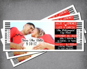 softball wedding save the date ticket sports ticket invit