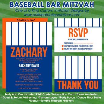 baseball bar mitzvah invitation rsvp card thank you no